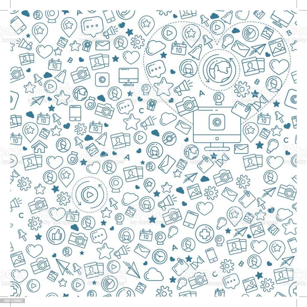 Social Media Blue Seamless Pattern vector art illustration