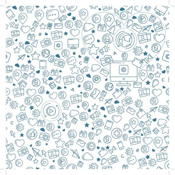 ilustraciones, imágenes clip art, dibujos animados e iconos de stock de social media azul de patrones sin fisuras - íconos de redes sociales