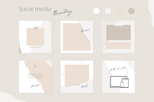 social media branding template. digital marketing, Instagram feed background mockup in beige and peach colors. for beauty, cosmetics, fashion blog creators