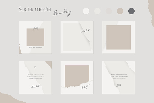 social media branding template, Instagram feed or digital marketing background mockup in nude colors. for beauty, cosmetics, fashion content creators