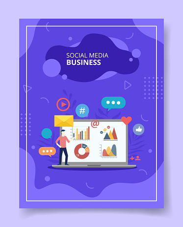 Social media business men showing chart diagram on laptop for template of banners, flyer, books cover, magazines with liquid shape style