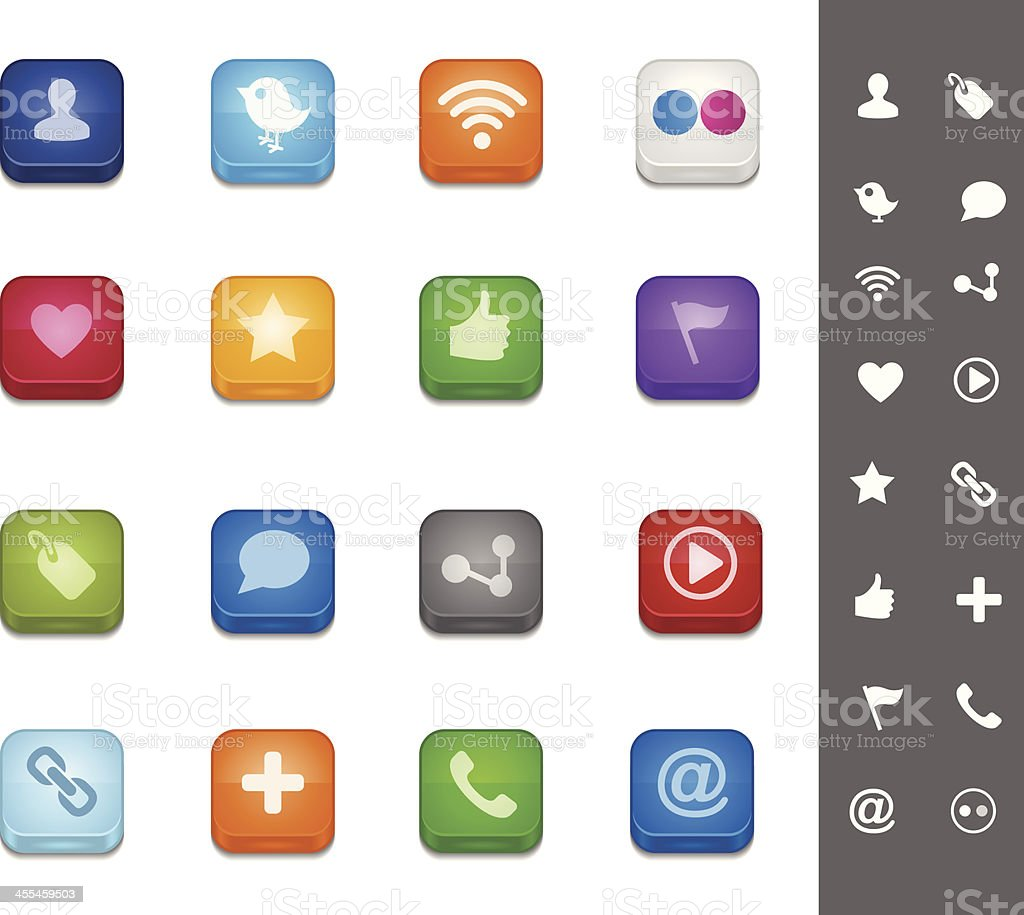 Social Media Buttons royalty-free stock vector art