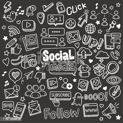 Social media related object and element collection. Hand drawn vector doodle illustration over chalkboard isolated on black background.