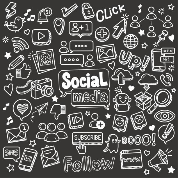 ilustraciones, imágenes clip art, dibujos animados e iconos de stock de social media chalkboard doodle vector illustration. - social media