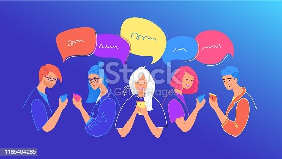 Social media chat and communication concept flat vector illustration. Teenage boys and girls using mobile smartphone for chatting, texting, comments in social media. Young people with speech bubbles