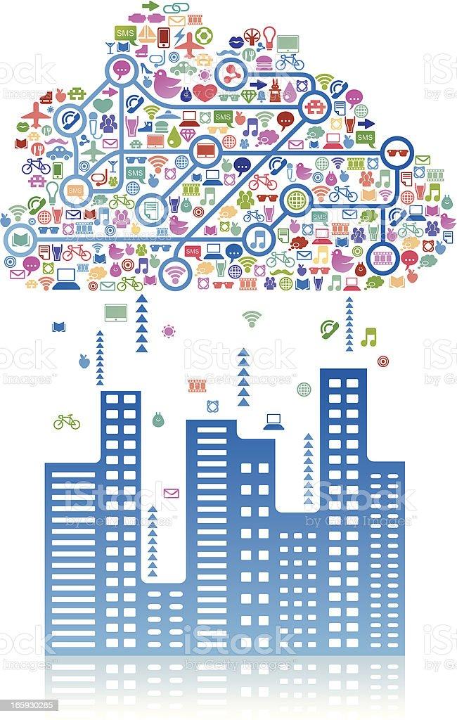 Social media cloud above a city royalty-free stock vector art