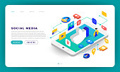Mock-up design website flat design concept social media mobile application. Isometric vector illustration.