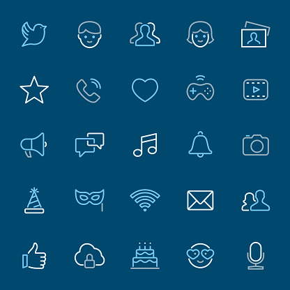 Social Media - color outline icons