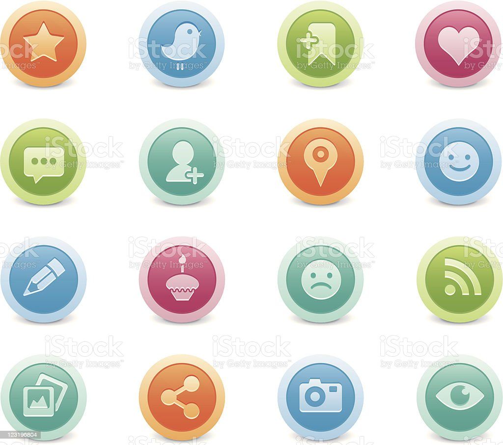 social media - colorful buttons royalty-free stock vector art