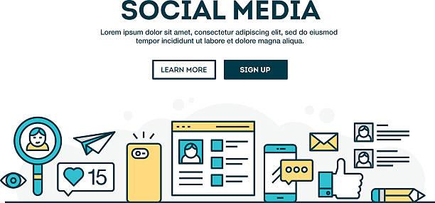 Social media, colorful concept header, flat design thin line style vector art illustration