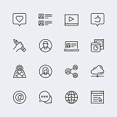 Social media, communication and personal profile vector icon set in thin line style