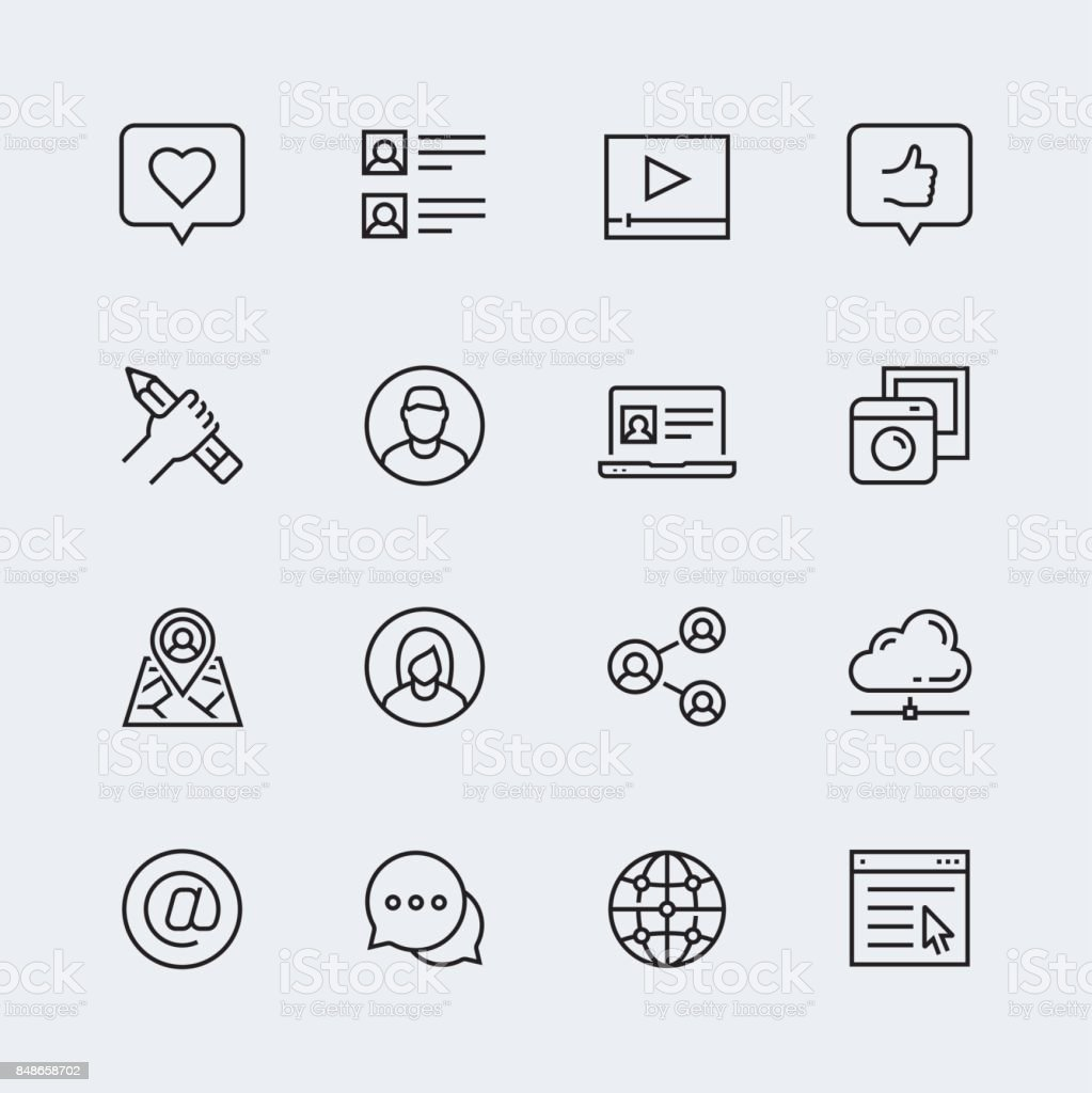 Social media, communication and personal profile vector icon set in thin line style vector art illustration