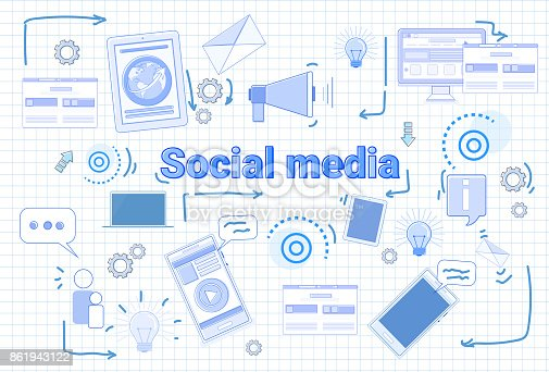 istock Social Media Communication Concept Internet Network Connection Banner Over Squared Background 861943122