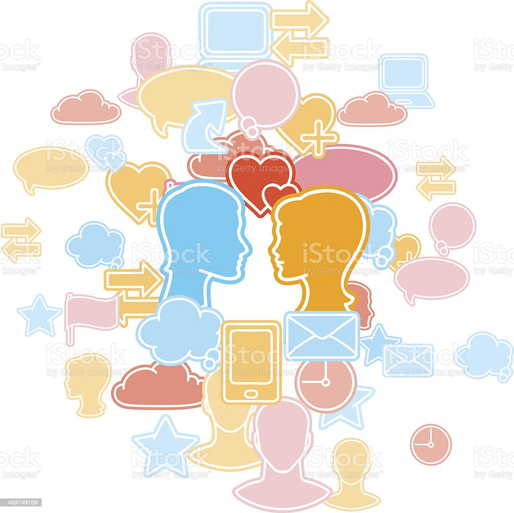 Social media, communication in the global computer networks royalty-free stock vector art