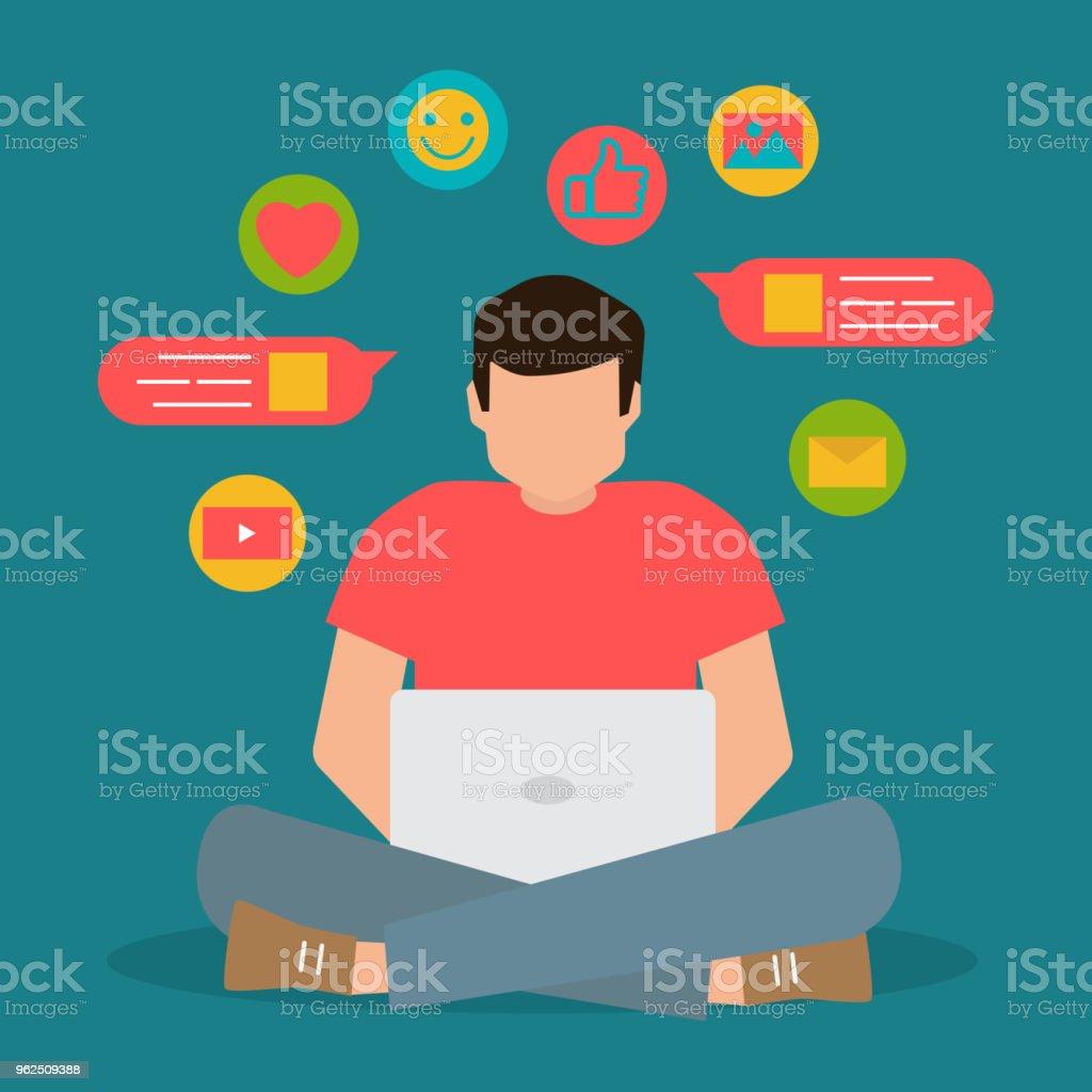 comunicação de mídia social, papo de homem no laptop, ilustração plana vector - Vetor de Abstrato royalty-free