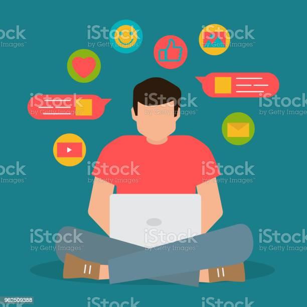 Vetores de Comunicação De Mídia Social Papo De Homem No Laptop Ilustração Plana Vector e mais imagens de Abstrato