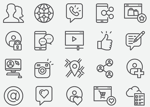 Social media Communication Online Shopping and Personal Profile Line Icons