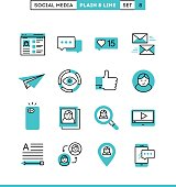 Social media, communication, personal profile, online posting and more. Plain and line icons set, flat design, vector illustration