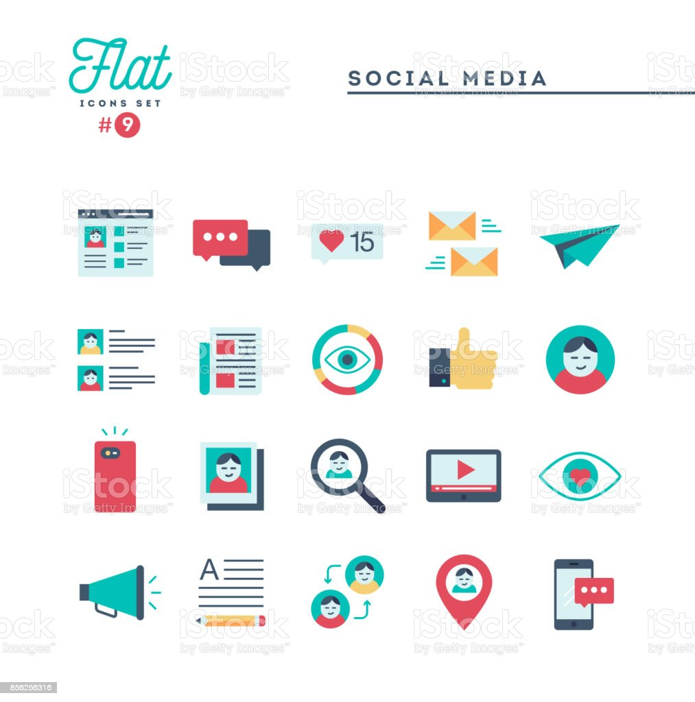 Social media, communication, personal profile, online posting and more, flat icons set vector art illustration