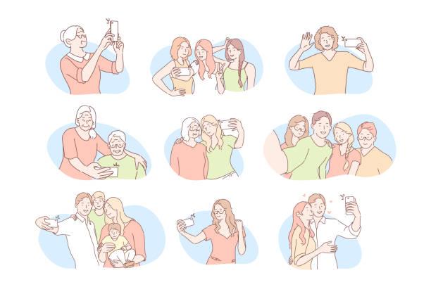 ilustraciones, imágenes clip art, dibujos animados e iconos de stock de comunicación en redes sociales, concepto de conjunto selfie - nieta
