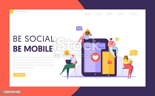 Social Media Communication Technology Characters Landing Page Template. Group of Flat People Chat in Mobile and Tablet Screen Concept for Website or Web Page. Cartoon Vector Illustration