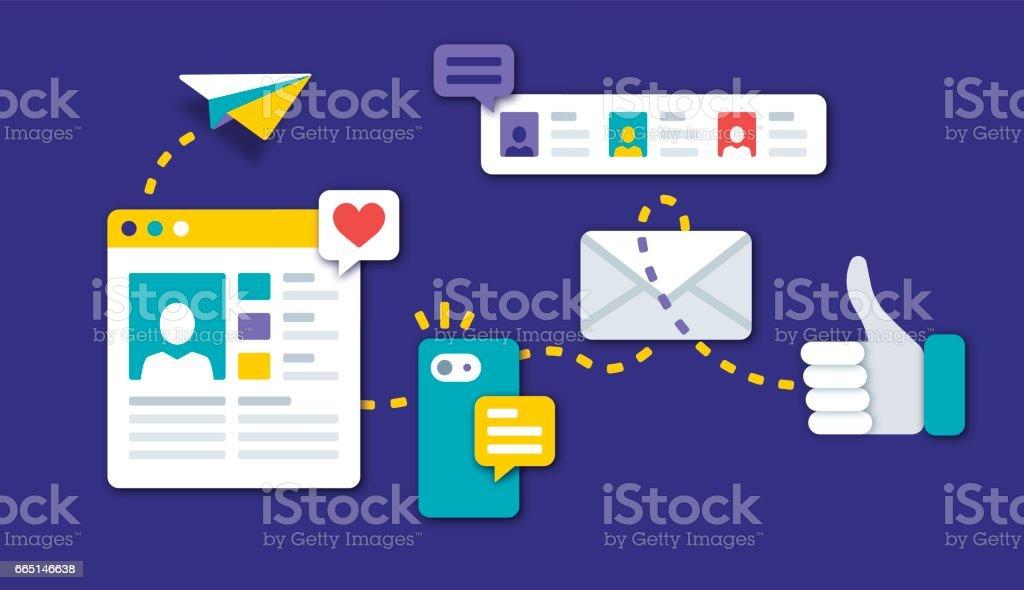 Social Media Communication vector art illustration