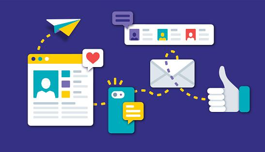 Social Media Communication - Immagini vettoriali stock e altre immagini di Aeroplano di carta
