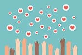 Social media competition. Raised hands trying to catch flying heart signs / flat editable vector illustration, clip art