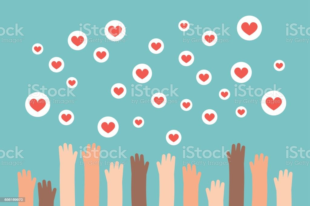 Social media competition. Raised hands trying to catch flying heart signs / flat editable vector illustration, clip art vector art illustration