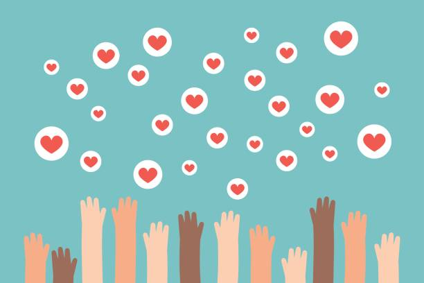 Social media competition. Raised hands trying to catch flying heart signs / flat editable vector illustration, clip art flat editable vector illustration, clip art community clipart stock illustrations