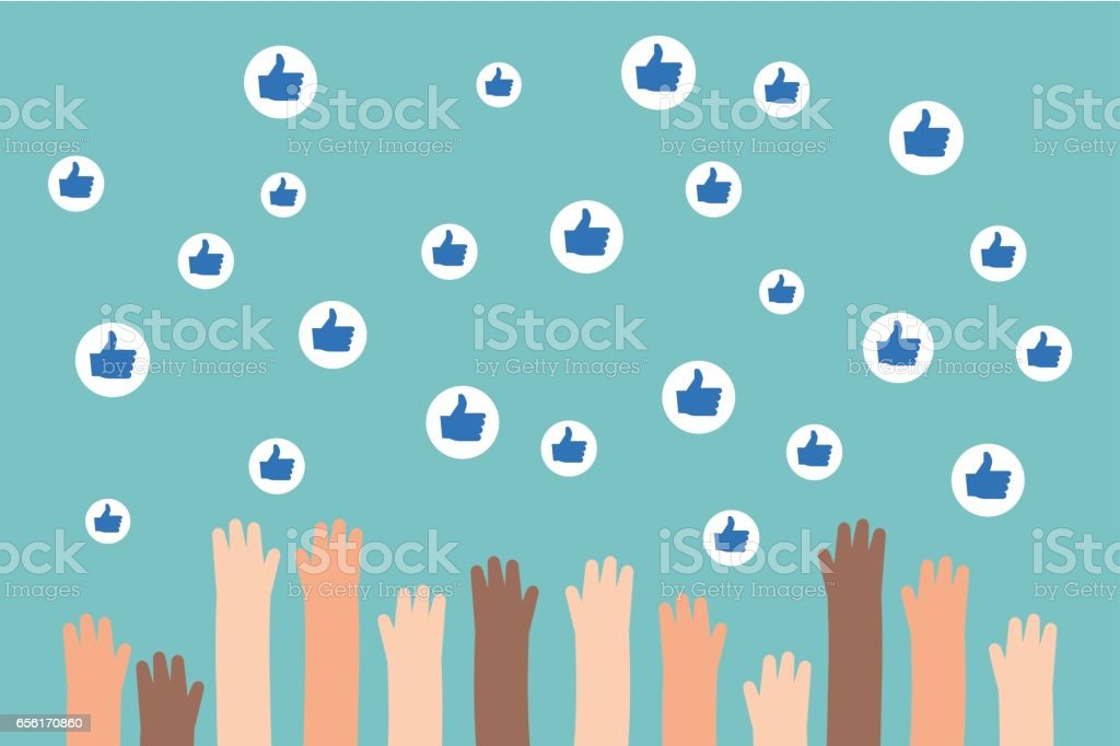 Social media competition. Raised hands trying to catch flying like signs / flat editable vector illustration, clip art vector art illustration