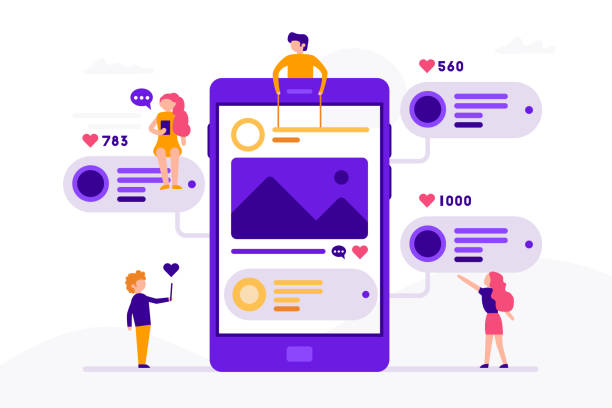 social media concept banner with phone and small people around it having chat, mailing with likes and photos. vector illustration in flat design with smartphone isolated on white background. - flat design icons stock illustrations, clip art, cartoons, & icons