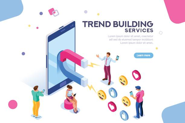 illustrazioni stock, clip art, cartoni animati e icone di tendenza di social media concept flat isometric - social media