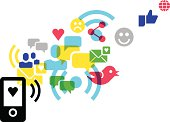 Illustration of a social media concept, with communication and sharing icons