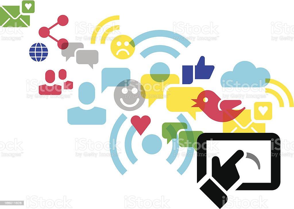 social media concept - icons royalty-free stock vector art