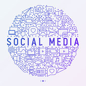 Social media concept in circle with thin line icons: of thumbs up, share, link, send e-mail, music, stream, comments. Vector illustration for banner, web page, print media.