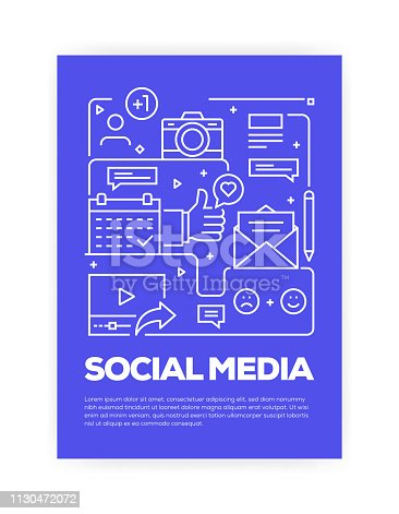 istock Social Media Concept Line Style Cover Design for Annual Report, Flyer, Brochure. 1130472072