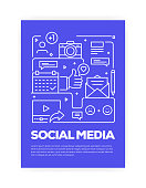 Social Media Concept Line Style Cover Design for Annual Report, Flyer, Brochure.
