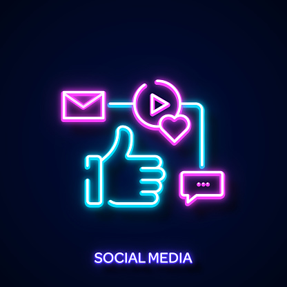 Social Media Concept Neon Style, Design Elements