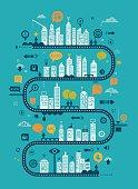 Social media- urban communication concept including flat icon set.