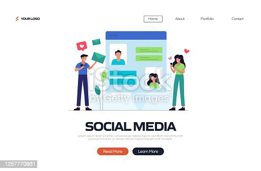 istock Social Media Concept Vector Illustration for Landing Page Template, Website Banner, Advertisement and Marketing Material, Online Advertising, Business Presentation etc. 1257770931