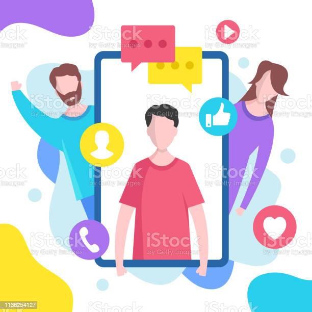 社交媒體概念向量例證適用于網站網頁範本資訊圖表網頁橫幅等的現代平面設計圖形元素向量圖形及更多互聯網圖片