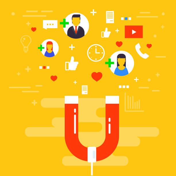 social-media-konzept-vektor-illustration mit magnet ansprechende anhänger und mag. marketing- oder werbekampagne zu beeinflussen. publikum oder kunden aufbewahrungsstrategie. - lesestrategien stock-grafiken, -clipart, -cartoons und -symbole