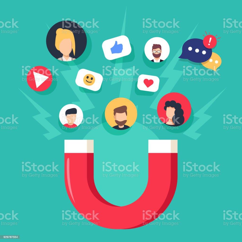 ソーシャル メディアの概念ベクトル イラスト マグネット魅力的な信者と同類。マーケティングに影響を与える ロイヤリティフリーソーシャル メディアの概念ベクトル イラスト マグネット魅力的な信者と同類マーケティングに影響を与える - snsアイコンのベクターアート素材や画像を多数ご用意