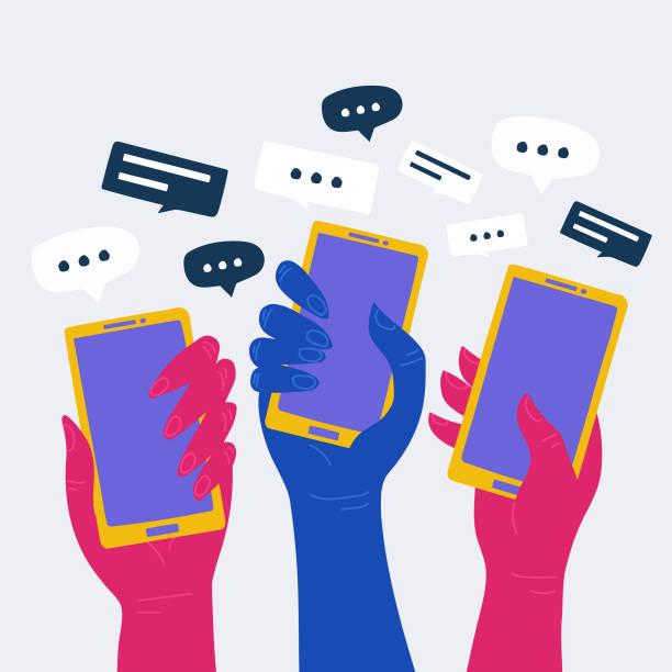 ilustrações, clipart, desenhos animados e ícones de vetor de conceito de mídia social com muitas mãos segurando smartphones. - fontes de bolha