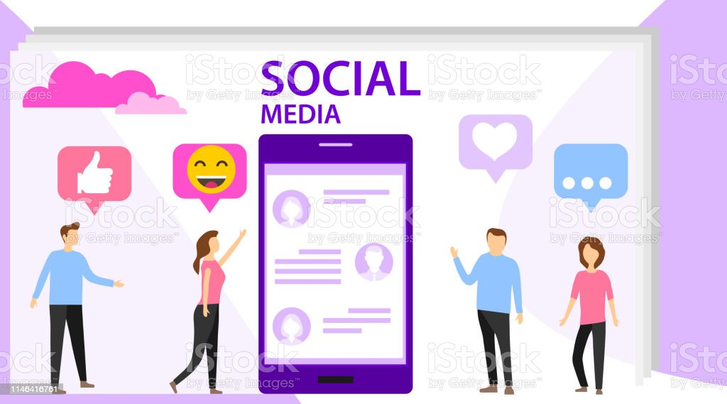 Social media concept with characters. Media content like from social...