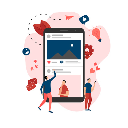 Social media concept with photo content, like and comment. Vector flat illustration