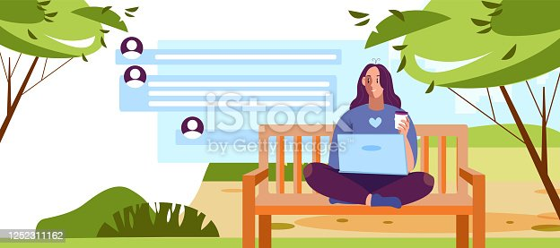 Network illustration in flat style with freelancer girl, chat, avatar icons. Internet communication banner