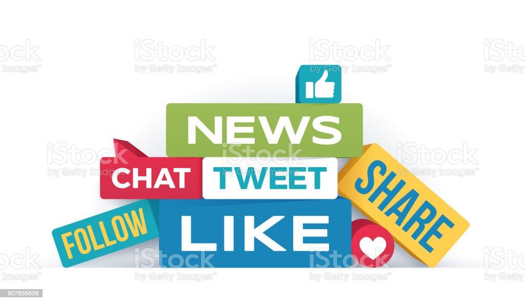 Social Media Concepts vector art illustration
