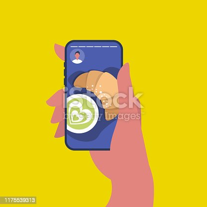 Social media content. Food blog. Breakfast, top view: matcha green tea and croissant. Cafe. Flat editable vector illustration. Hand holding a smartphone. Millennial lifestyle
